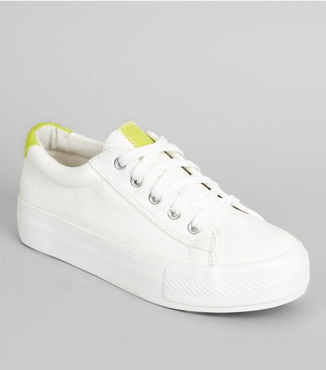 Wide Fit Yellow Contrast Panel Trainers | New Look