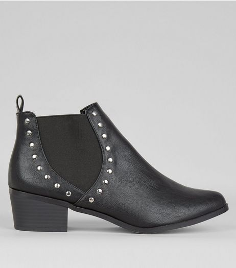 Wide Fit Black Studded Western Boots | New Look