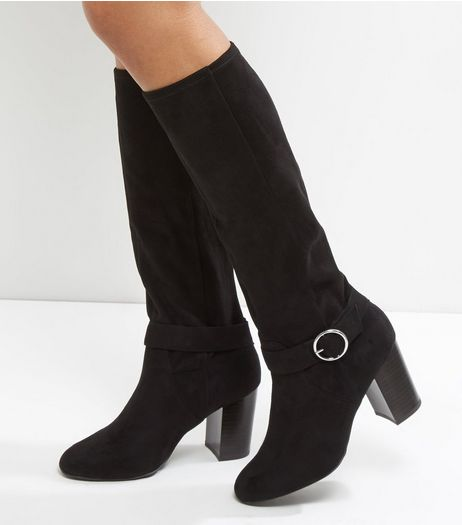 Wide Fit Black Suedette Knee High Block Heel Boots | New Look