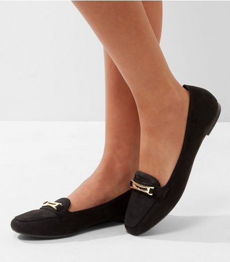 Black Suedette Metallic Trim Loafers | New Look