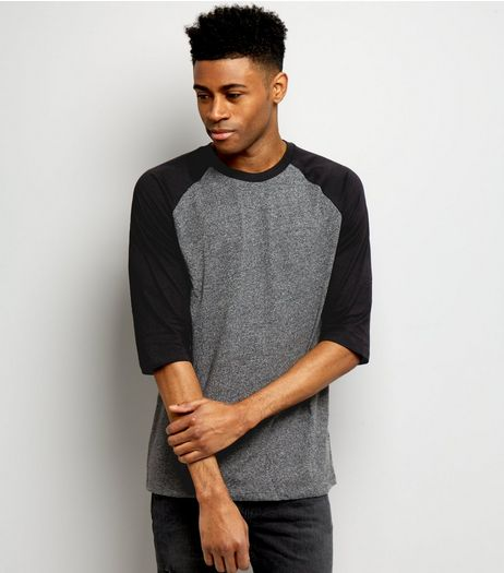 Black 3/4 Raglan Sleeve T-Shirt | New Look