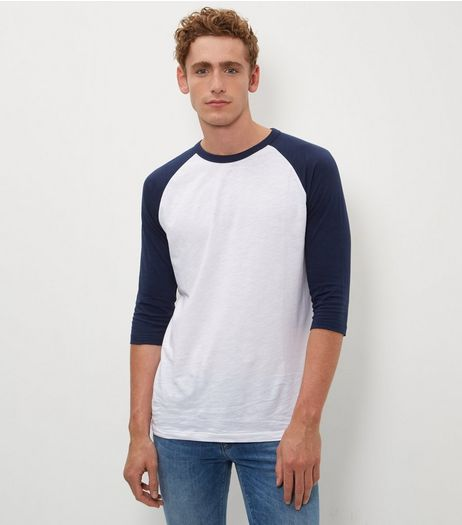 Navy 3/4 Raglan Sleeve T-Shirt | New Look