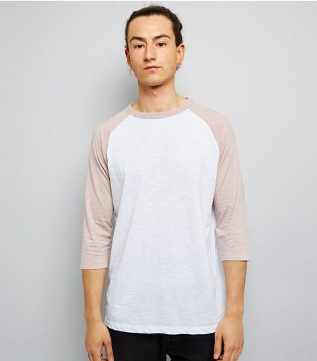 Pale Pink 3/4 Raglan Sleeve T-Shirt | New Look