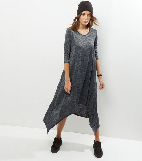 Apricot Dark Grey Burnout Hanky Hem Dress | New Look
