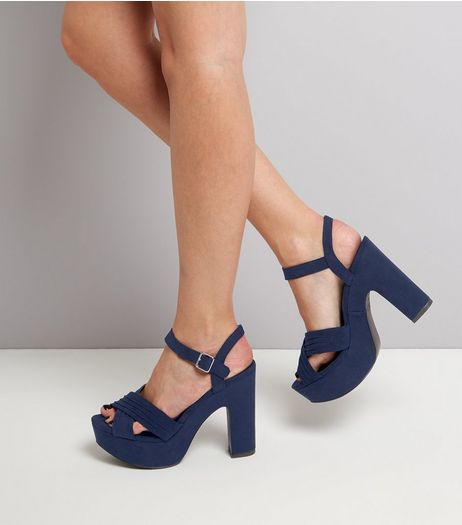 Wide Fit Navy Suedette Cross Front Platform Sandals | New Look