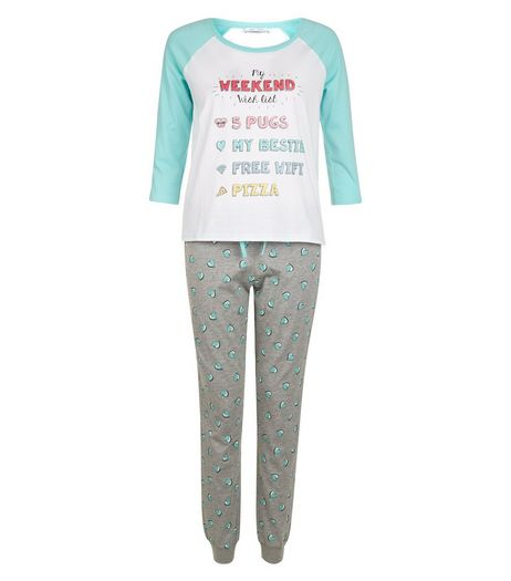 Teens Mint Green My Weekend Wish List Pyjama Set | New Look