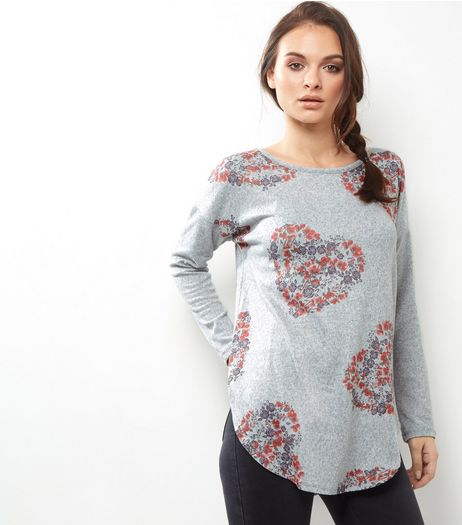 Apricot Grey Heart Print Top  | New Look