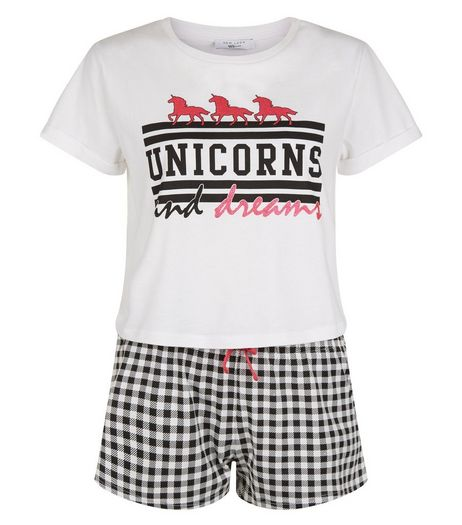 Teens Black Unicorn and Check Print Pyjama Set | New Look