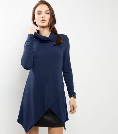 Apricot Navy Ribbed Turtle Neck Longline Top  | New Look