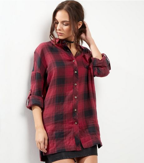 Apricot Red Check Oversized Rolled Sleeve Shirt  | New Look