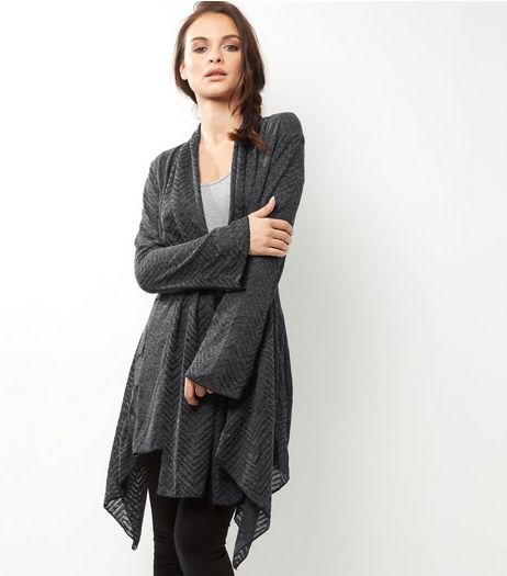 Apricot Dark Grey Pattern Panel Longline Cardigan | New Look