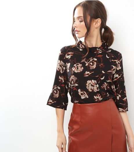 Apricot Black Floral Print Funnel Neck Top | New Look