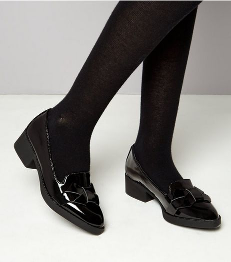 Teens Black Patent Block Heel School Loafers  | New Look
