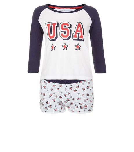 Teens Navy USA Stars Print Pyjama Set | New Look