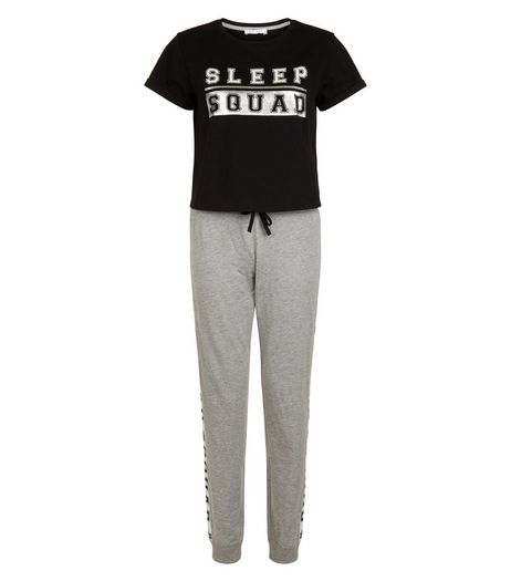 Teens Black Sleep Squad Pyjama Set | New Look