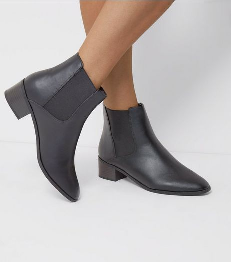 Wide Fit Black Square Toe Chelsea Boots | New Look