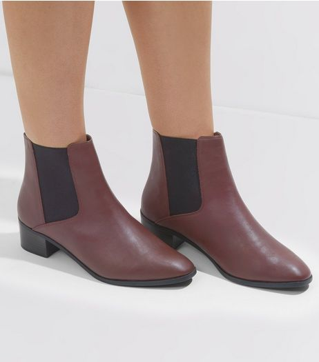 Wide Fit Red Square Toe Chelsea Boots | New Look