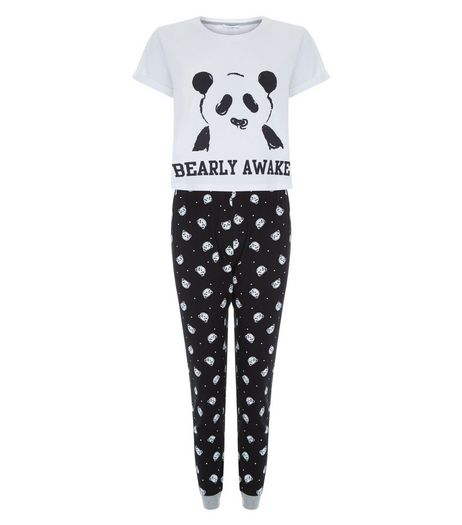 Teens Black Bearly Awake Pyjama Set | New Look