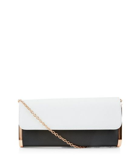 Black Contrast Panel Metal Trim Clutch | New Look