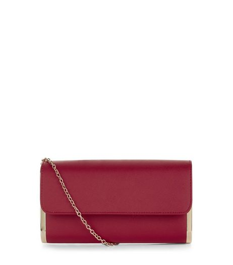 Neon Pink Metal Trim Clutch Bag  | New Look