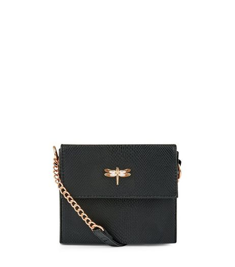 Black Snakeskin Texture Mini Box Bag | New Look