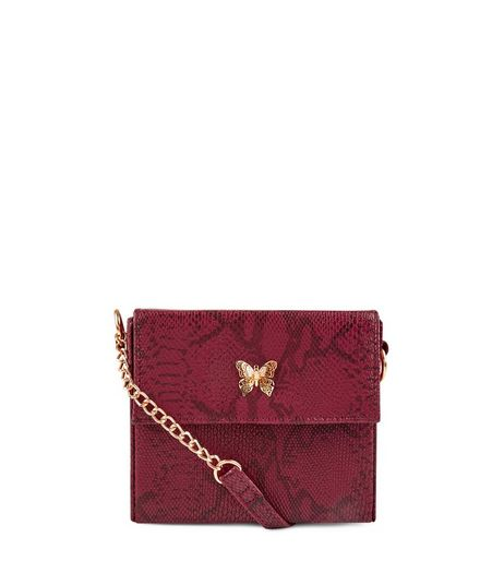 Burgundy Snakeskin Mini Box Bag | New Look