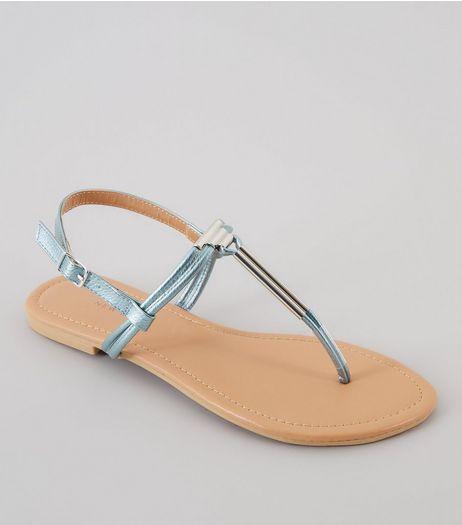 Wide Fit Blue Metallic Toe Post Metal Bar Sandals | New Look
