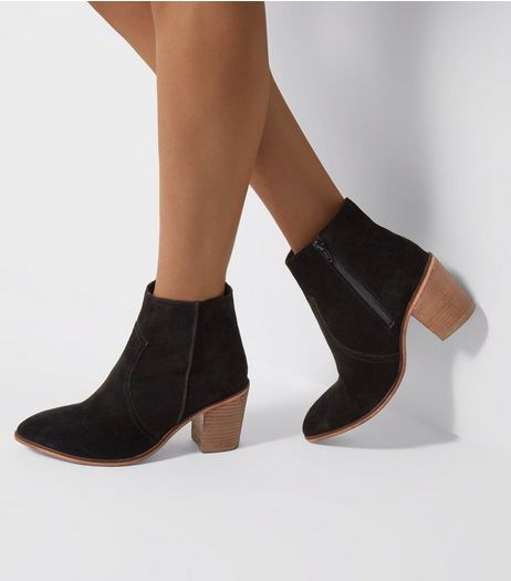 Wide Fit Black Suede Western Ankle Boots | New Look