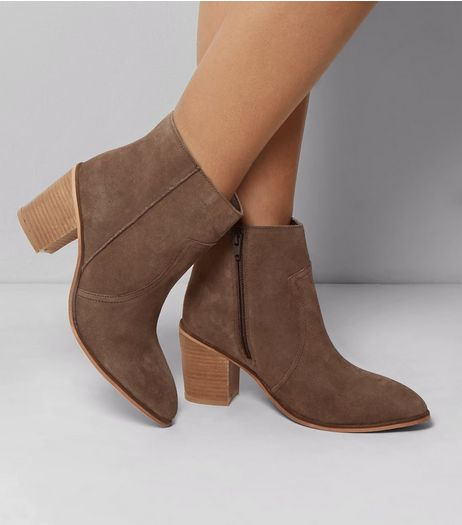 Wide Fit Brown Suede Western Ankle Boots | New Look