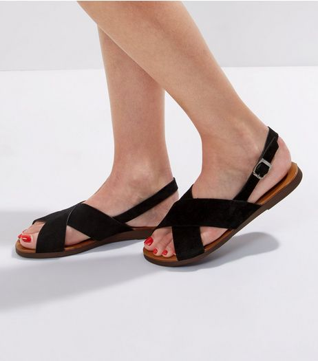 Wide Fit Black Leather Cross Strap Sandals  | New Look