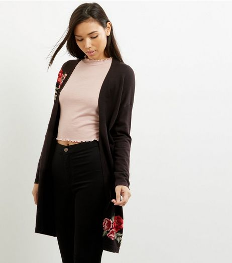 Black Floral Embroidered Longline Cardigan  | New Look