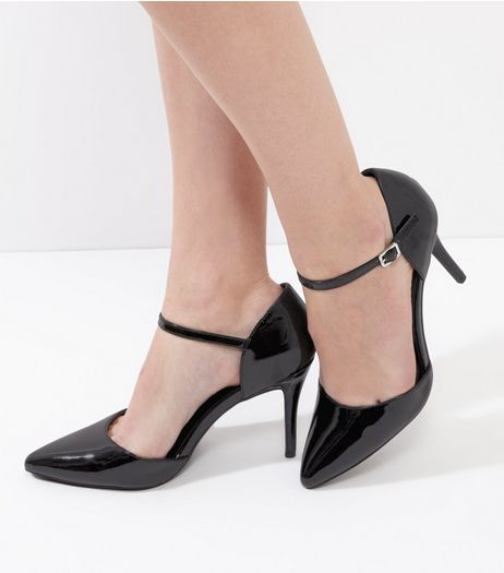 Black Patent Buckle Strap Pointed Court Shoes | New Look