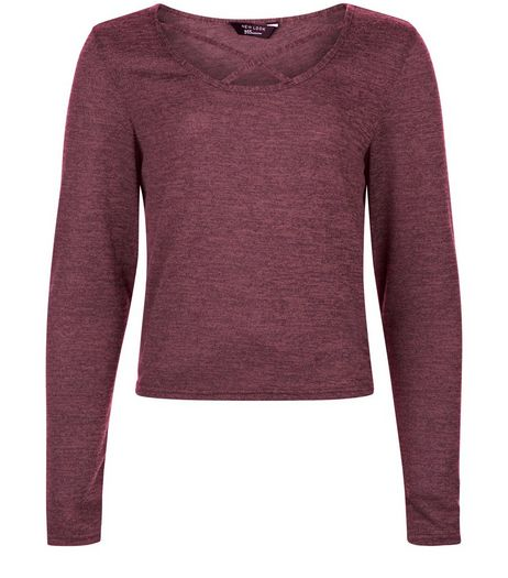 Teens Burgundy Cross Front Long Sleeve Top  | New Look