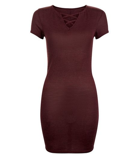 Teens Burgundy Lattice Front Bodycon Dress | New Look