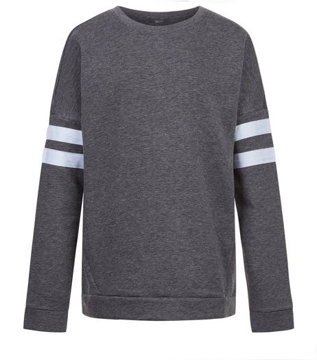 Teens Dark Grey Stripe Sleeve Longline Sweater | New Look