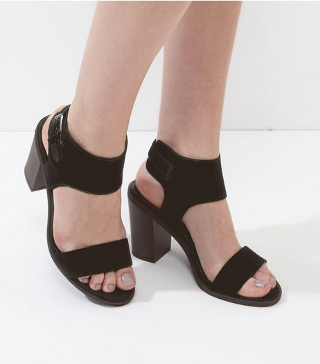 Black Suede Wide Ankle Strap Heeled Sandals | New Look