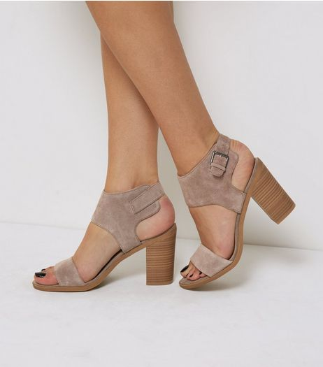 Light Brown Suede Heeled Sandals | New Look