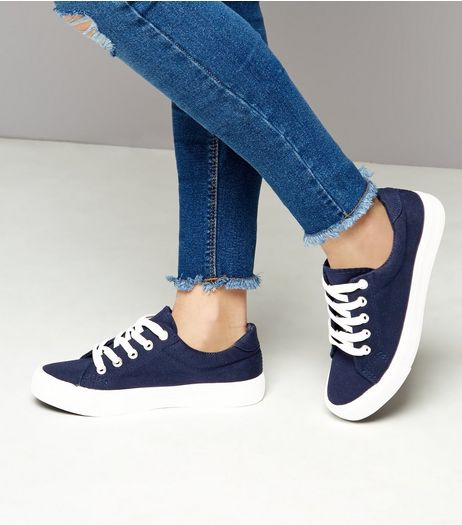 Teens Navy Lace Up Contrast Sole Plimsolls  | New Look