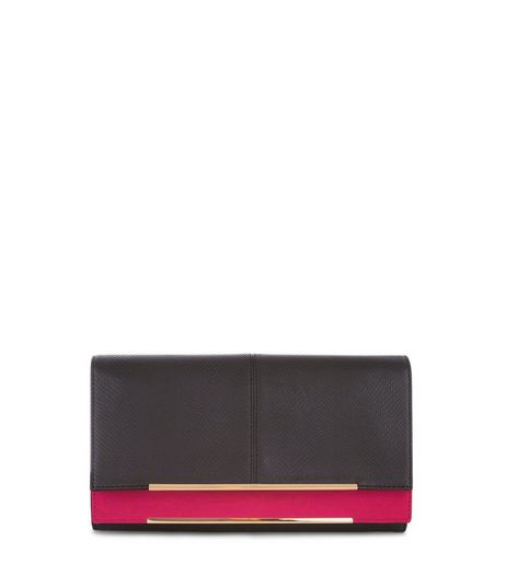 Black Suedette Contrast Panel Double Layered Clutch | New Look