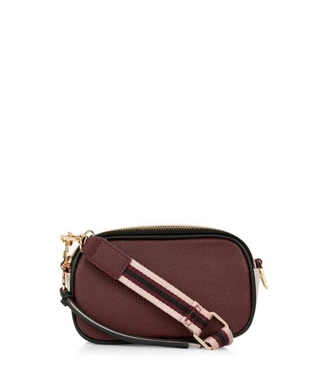Burgundy Contrast Strap Camera Bag | New Look