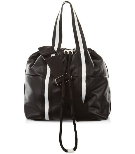 Black Padded Drawstring Sports Tote Bag | New Look