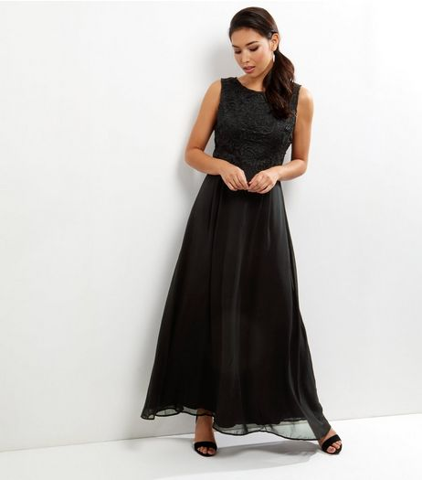 AX Paris Black Crochet Lace 2 in 1 Layered Maxi Dress | New Look