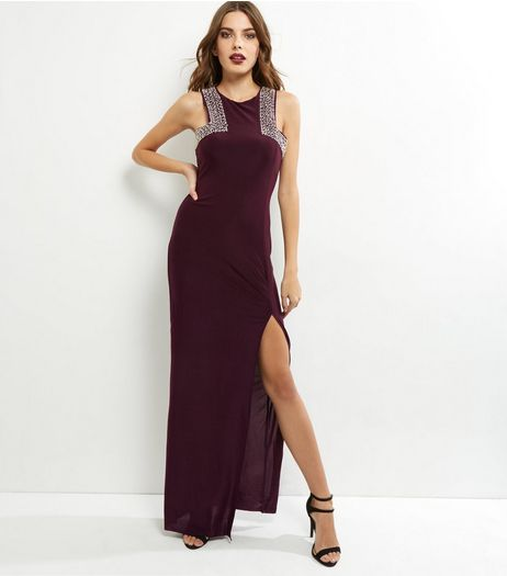 AX Paris Dark Purple Embellished Maxi Dress | New Look
