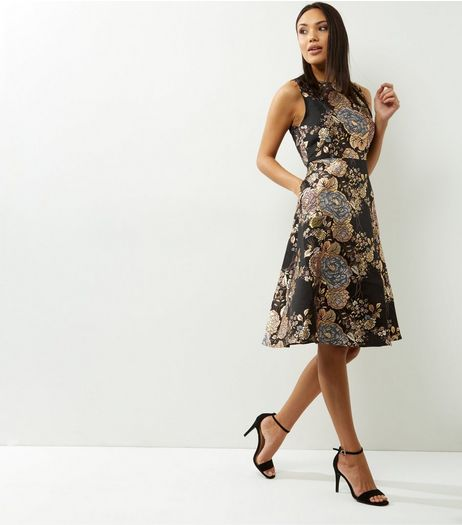 AX Paris Black Metallic Floral Print Skater Dress | New Look