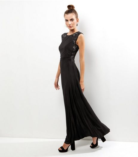 AX Paris Black Lace Panel Sleeveless Maxi Dress | New Look