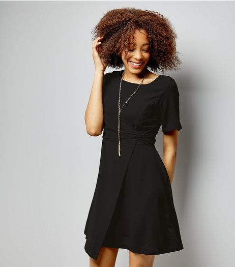 Black Short Sleeve Drape Wrap Front Dress | New Look