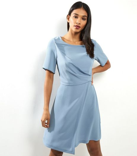 Pale Blue Draped Wrap Front Short Sleeve Dress | New Look