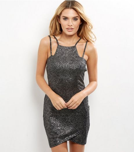 AX Paris Dark Grey Metallic Strappy Bodycon Dress | New Look