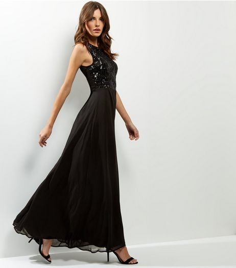 AX Paris Black Lace Sequin Panel Sleeveless Maxi Dress | New Look