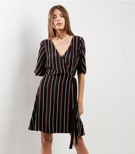 Black Stripe Wrap Front 1/2 Sleeve Dress | New Look